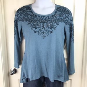 Live and Let Live Blue Embellished Thermal Top L